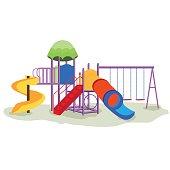 Kids playground equipment with swings.