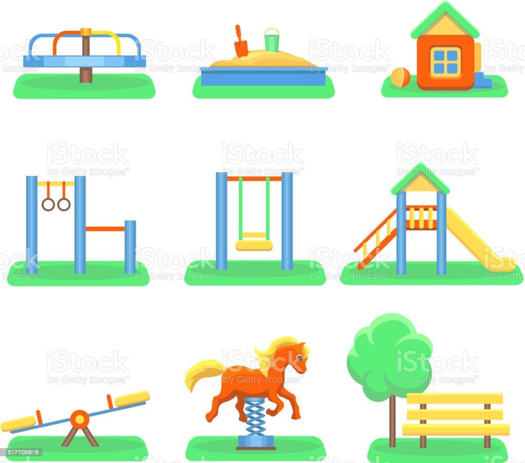 el patio de juegos para nios iconos con columpios y objetos diapositiva jardn