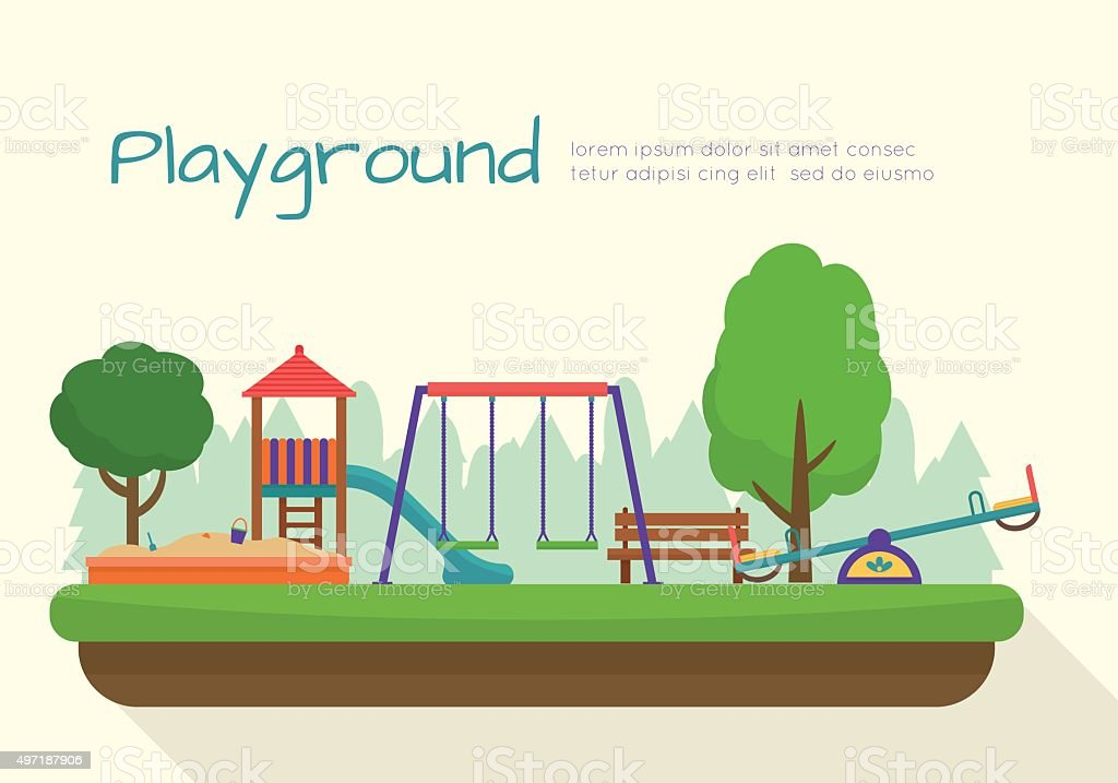 Kids playground set. vector art illustration