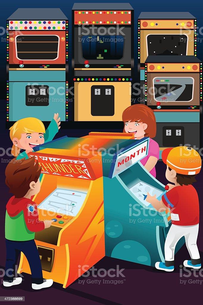 Kids playing arcade games vector art illustration