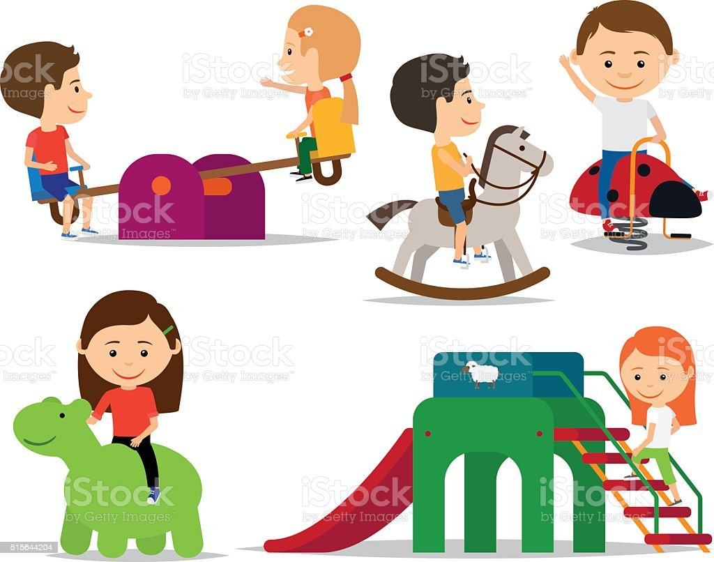 Kids playing at playground vector art illustration