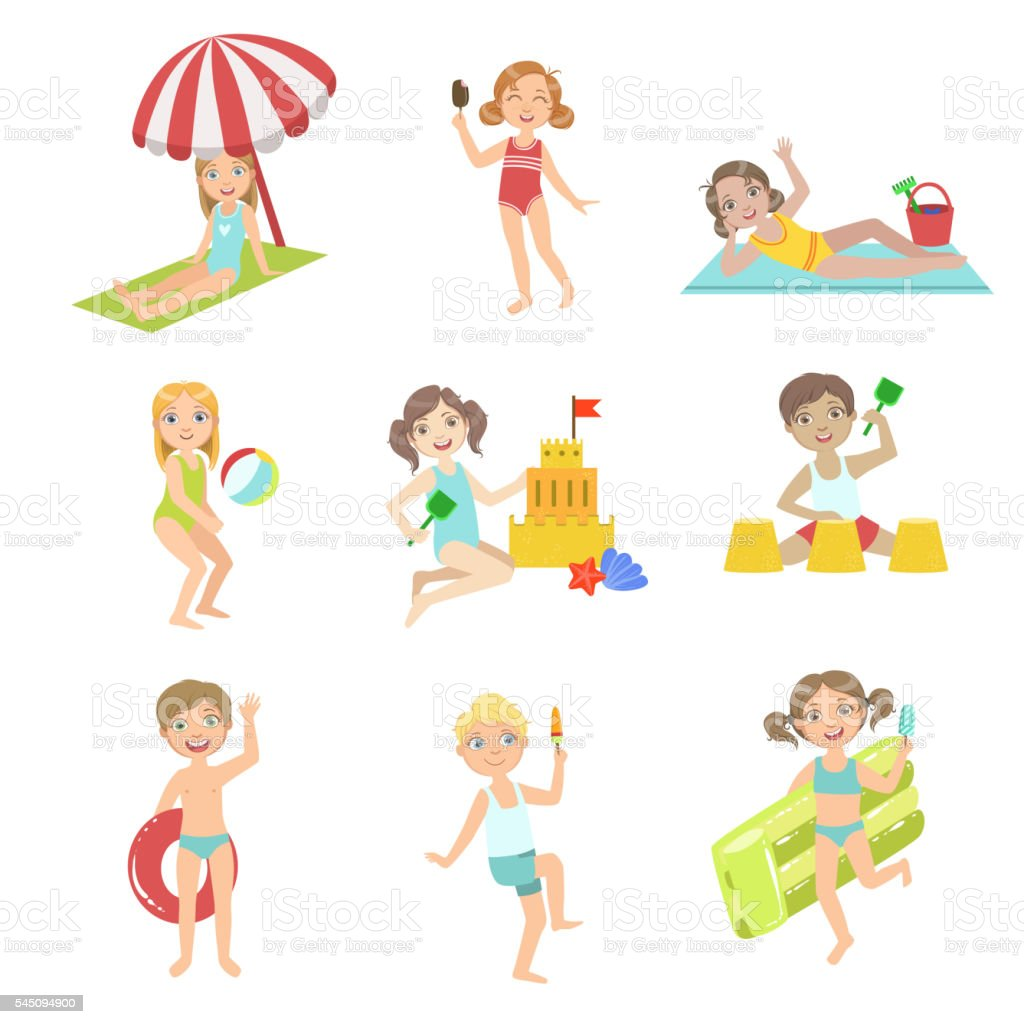 Kids Playing At the Beach Set vector art illustration