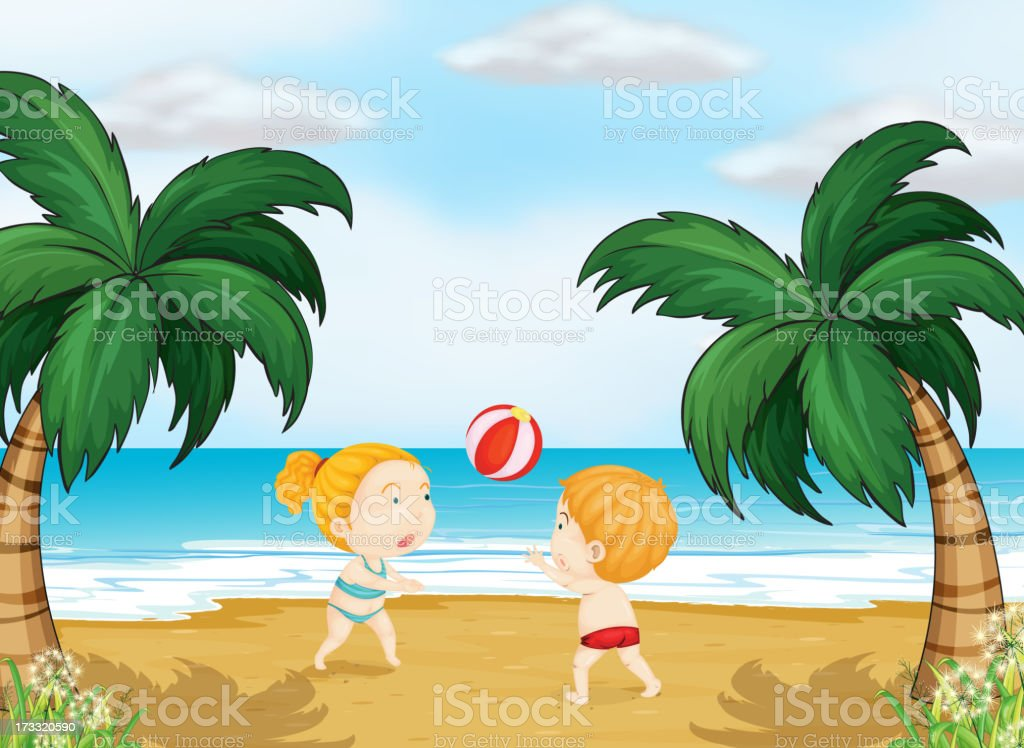 Kids playing ball royalty-free stock vector art