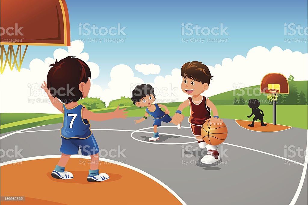 Kids playing basketball in a playground royalty-free stock vector art