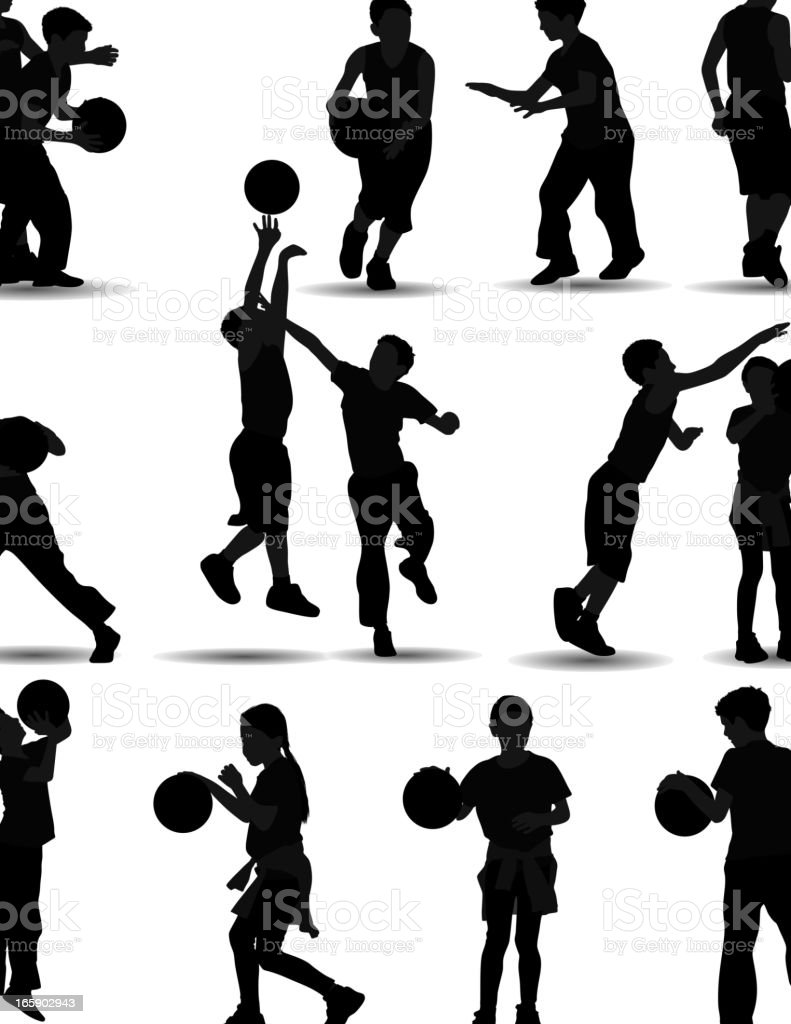 Kids Playing Basketball vector art illustration