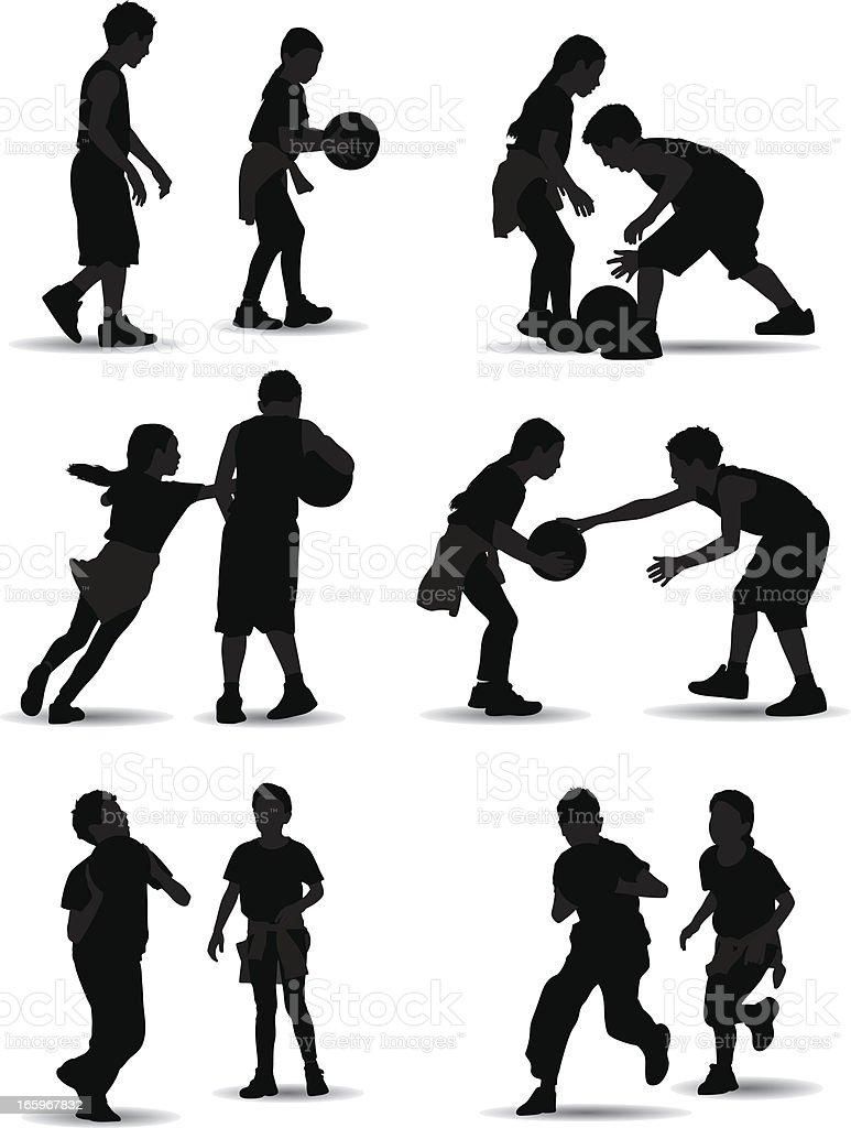 Kids Playing Basketball royalty-free stock vector art
