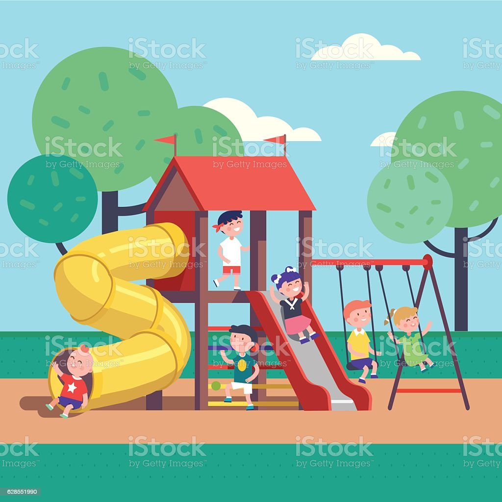 Kids playing game on a public park playground vector art illustration