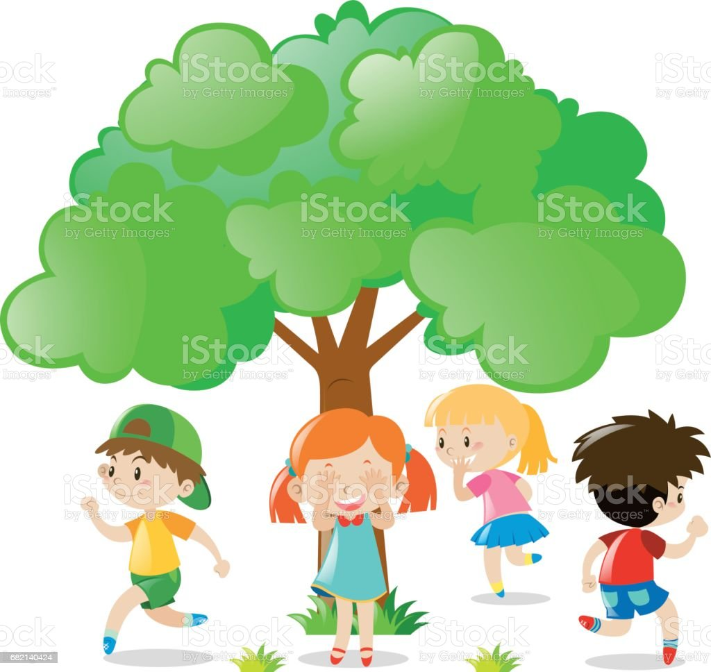 Kids playing hide and seek in the park vector art illustration