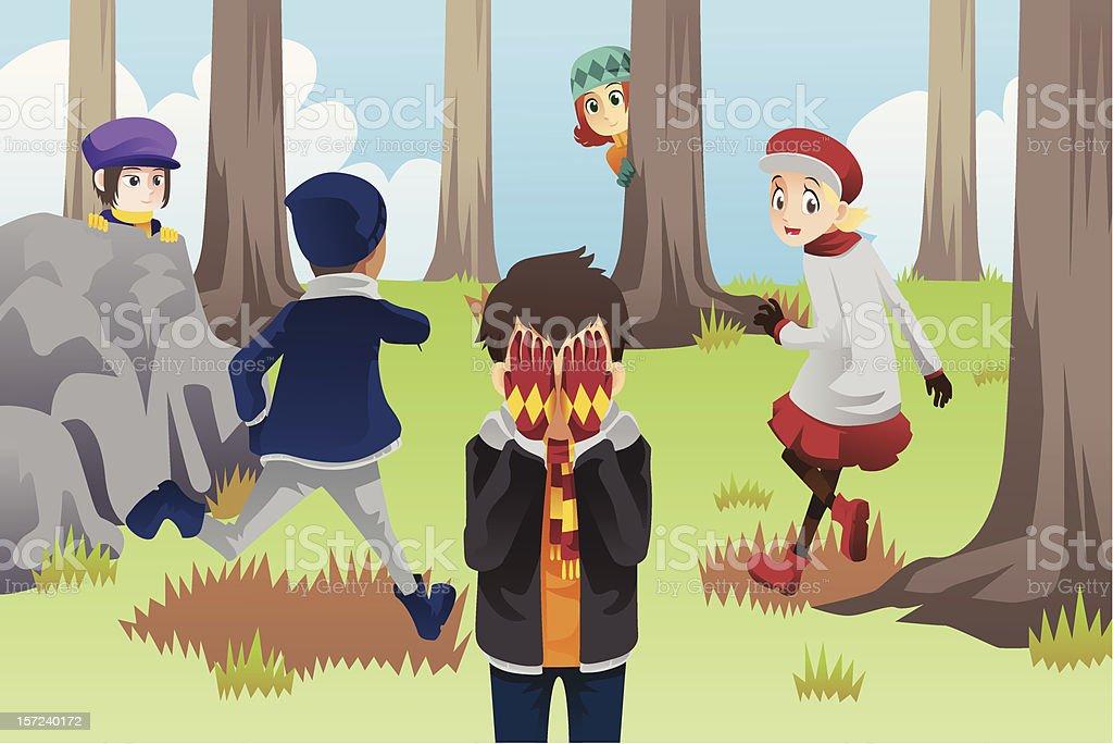 Kids playing hide and seek vector art illustration