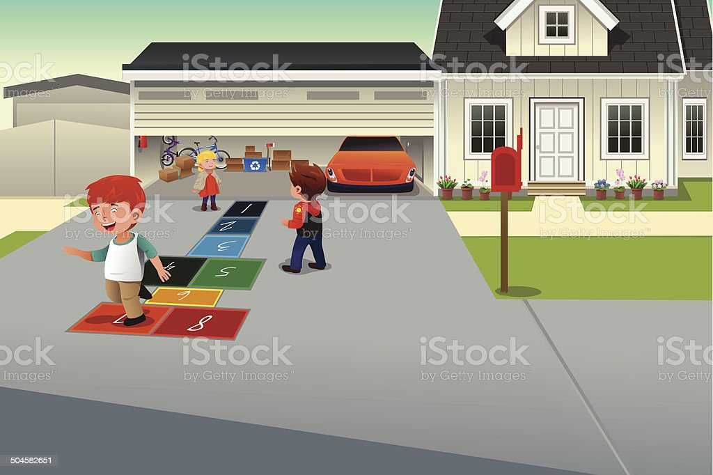 Kids playing hopscotch vector art illustration