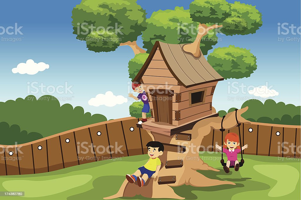 Kids playing in a tree house royalty-free stock vector art