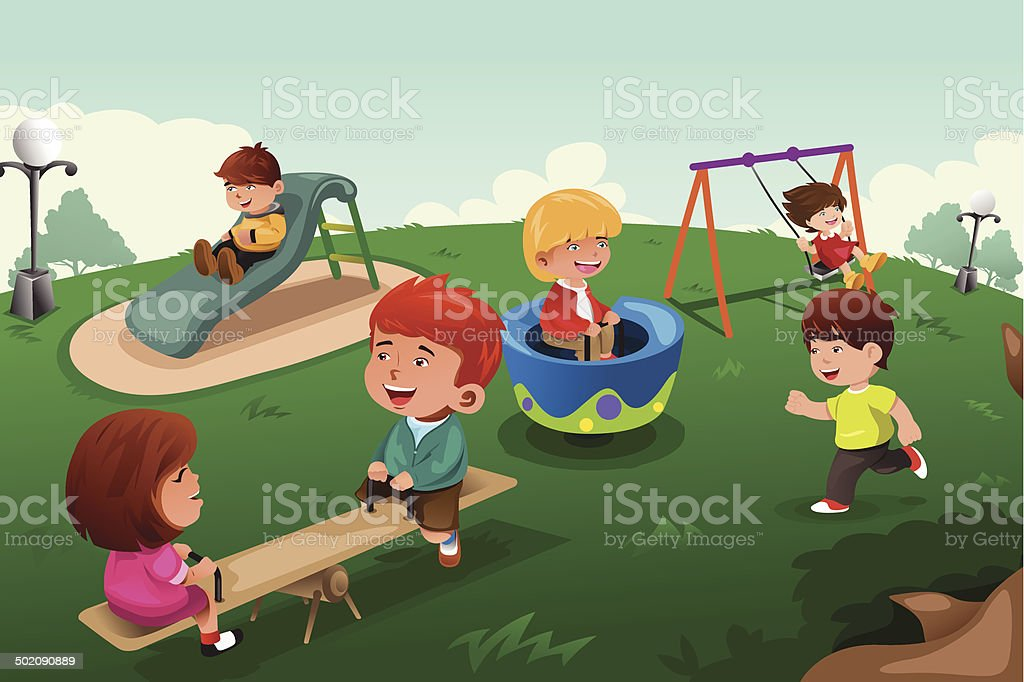Kids playing in the park vector art illustration