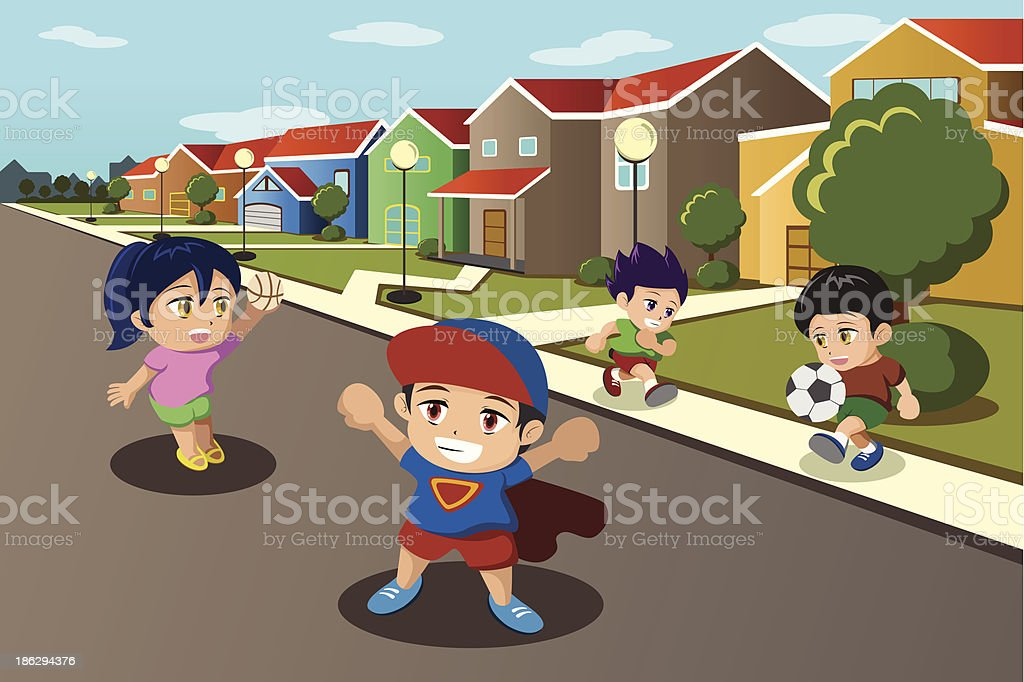 Kids playing in the street of a suburban neighborhood royalty-free stock vector art