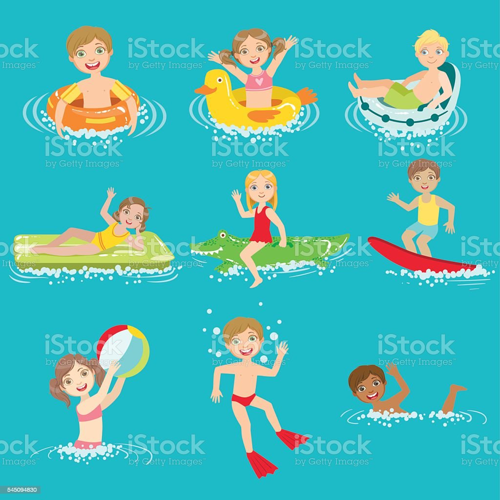 Kids Playing In the Water Set vector art illustration