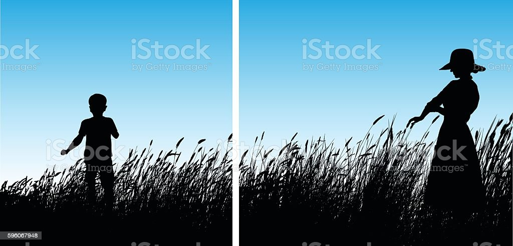 Kids Playing In The Wheat Grass vector art illustration