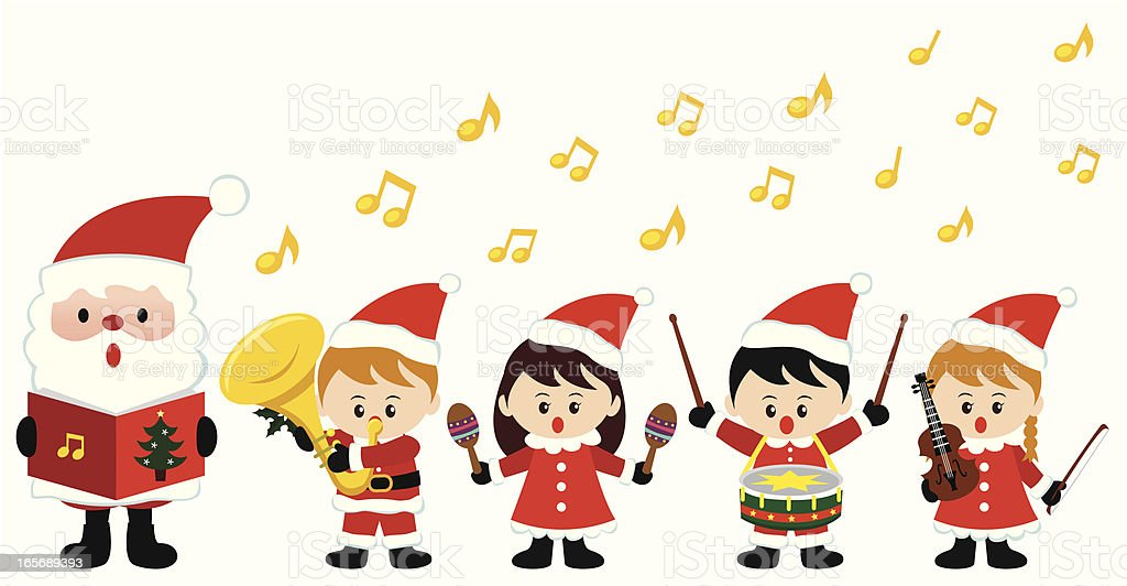 Kids playing instrument in Christmas vector art illustration