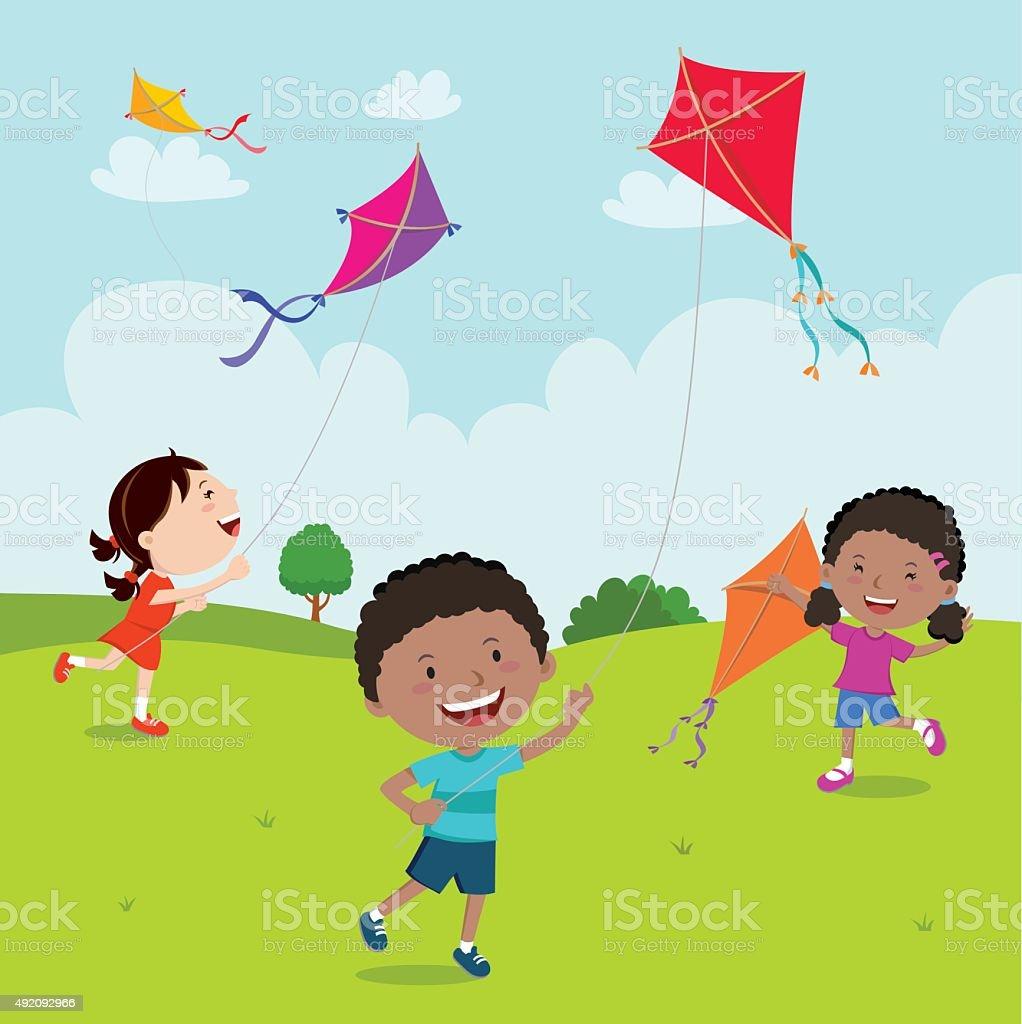 Kids playing kites vector art illustration