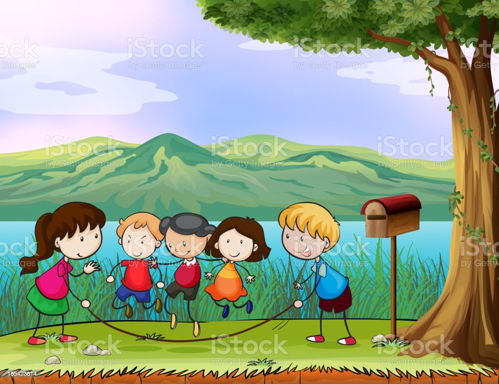 Kids playing near the wooden mailbox royalty-free stock vector art