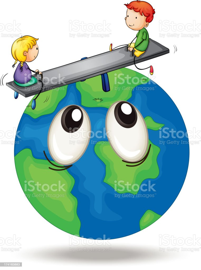 Kids playing on earth royalty-free stock vector art