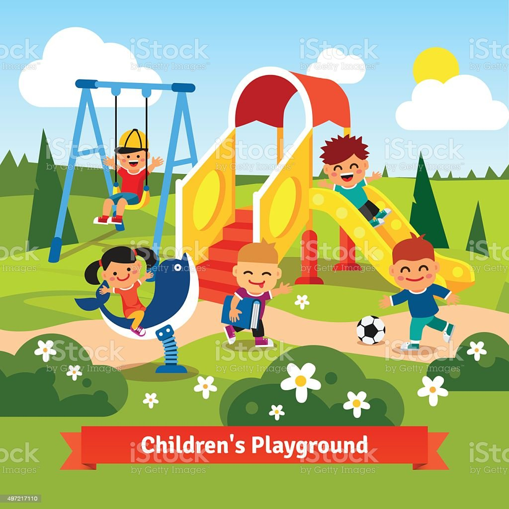Kids playing on playground. Swinging and sliding vector art illustration