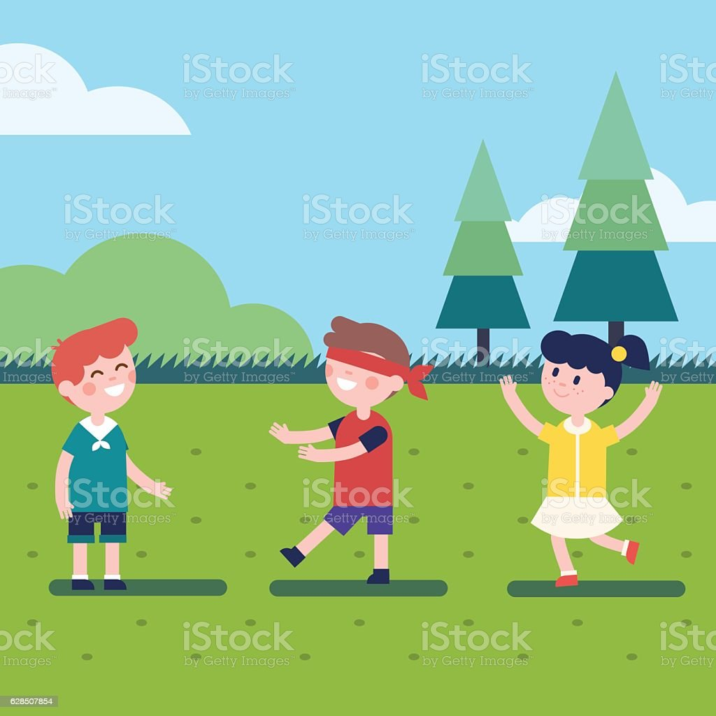 Kids playing outdoor blindfold game vector art illustration