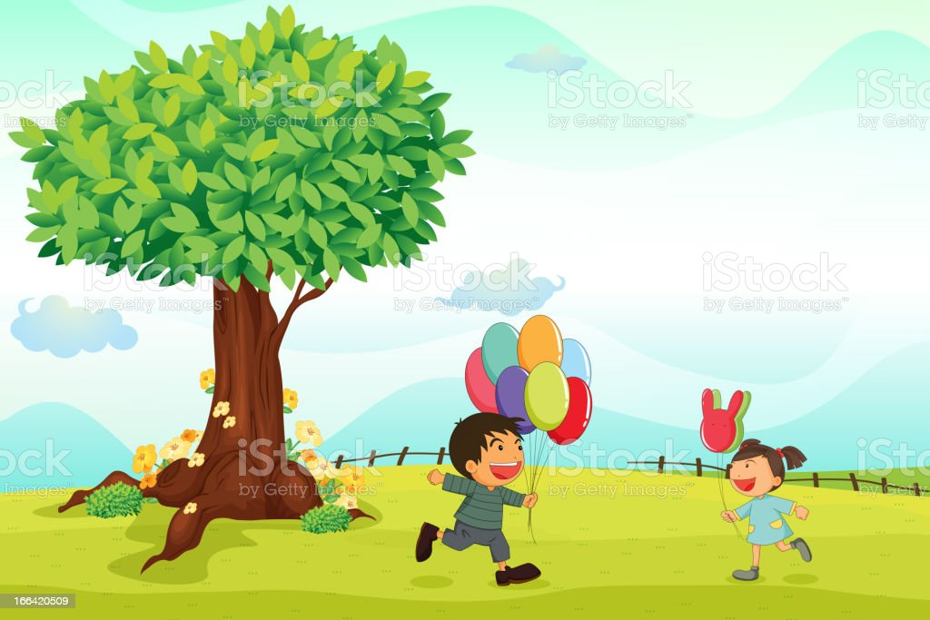Kids playing outdoor royalty-free stock vector art