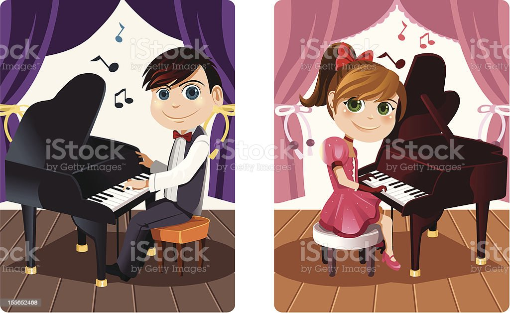 Kids playing piano vector art illustration