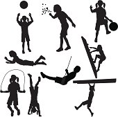 Kids Playing Silhouette Collection (vector+jpg)