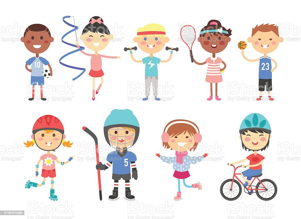 Kids playing various sports games such us hockey, football, gymnastics vector art illustration
