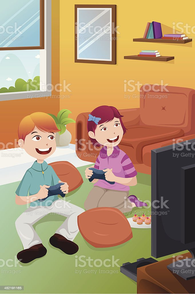 Kids playing video games at home royalty-free stock vector art