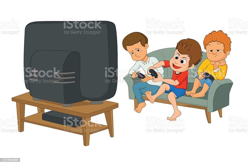 Enfants jouer à des jeux vidéo stock vecteur libres de droits libre de droits