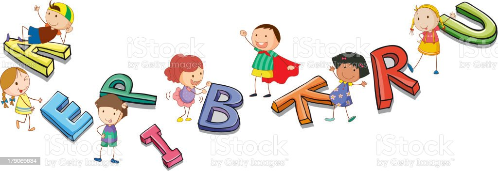 kids playing with alphabets vector art illustration