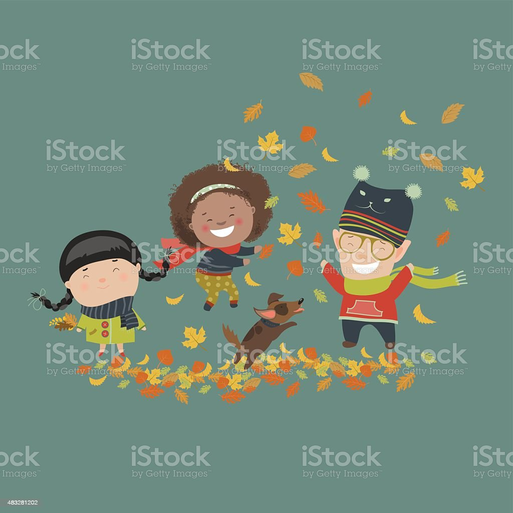 Kids playing with autumn leaves vector art illustration