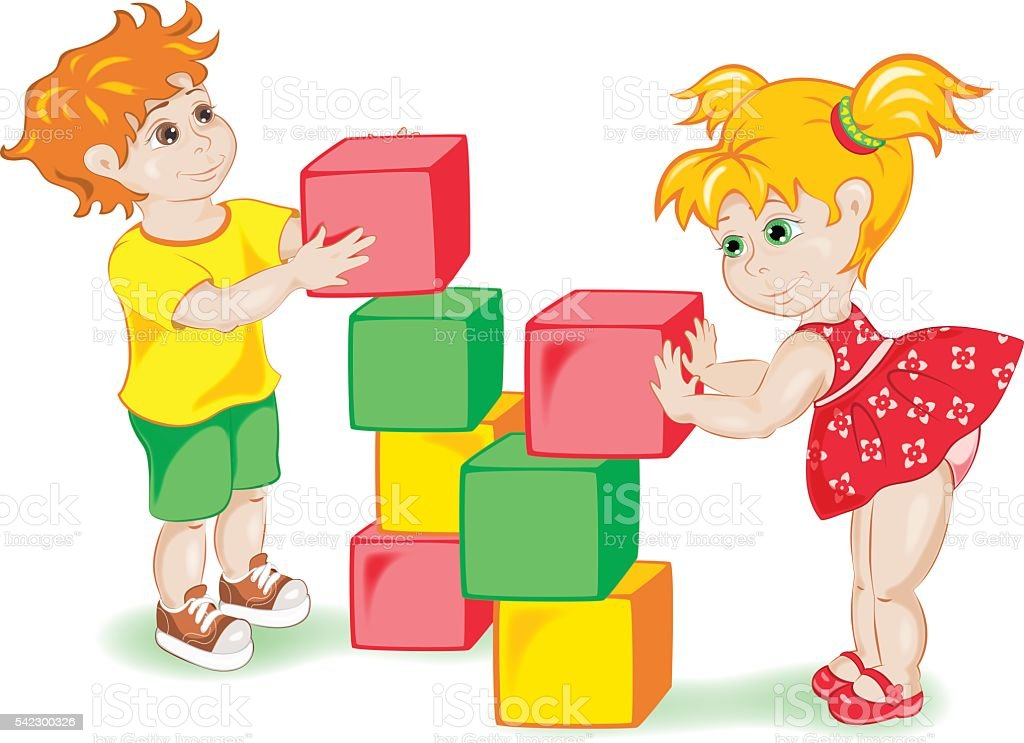 Kids playing with dice. vector art illustration