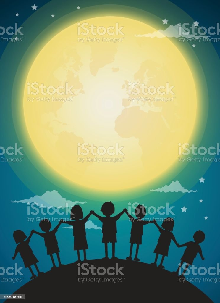 kids playing with full moon,background vector vector art illustration