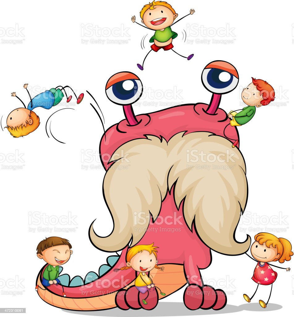 Kids playing with monster royalty-free stock vector art