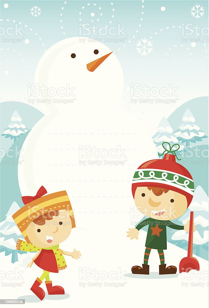 kids playing with snow royalty-free stock vector art