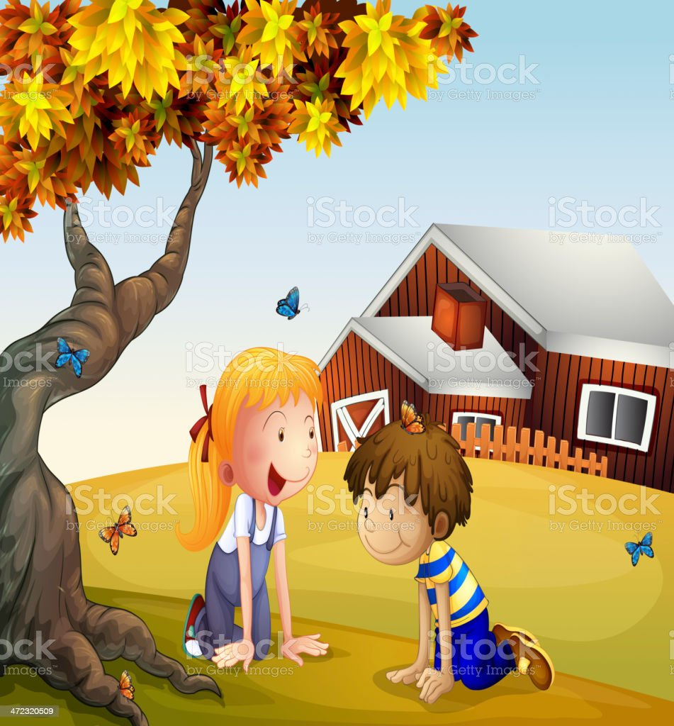 Kids playing with the butterflies near a big tree royalty-free stock vector art
