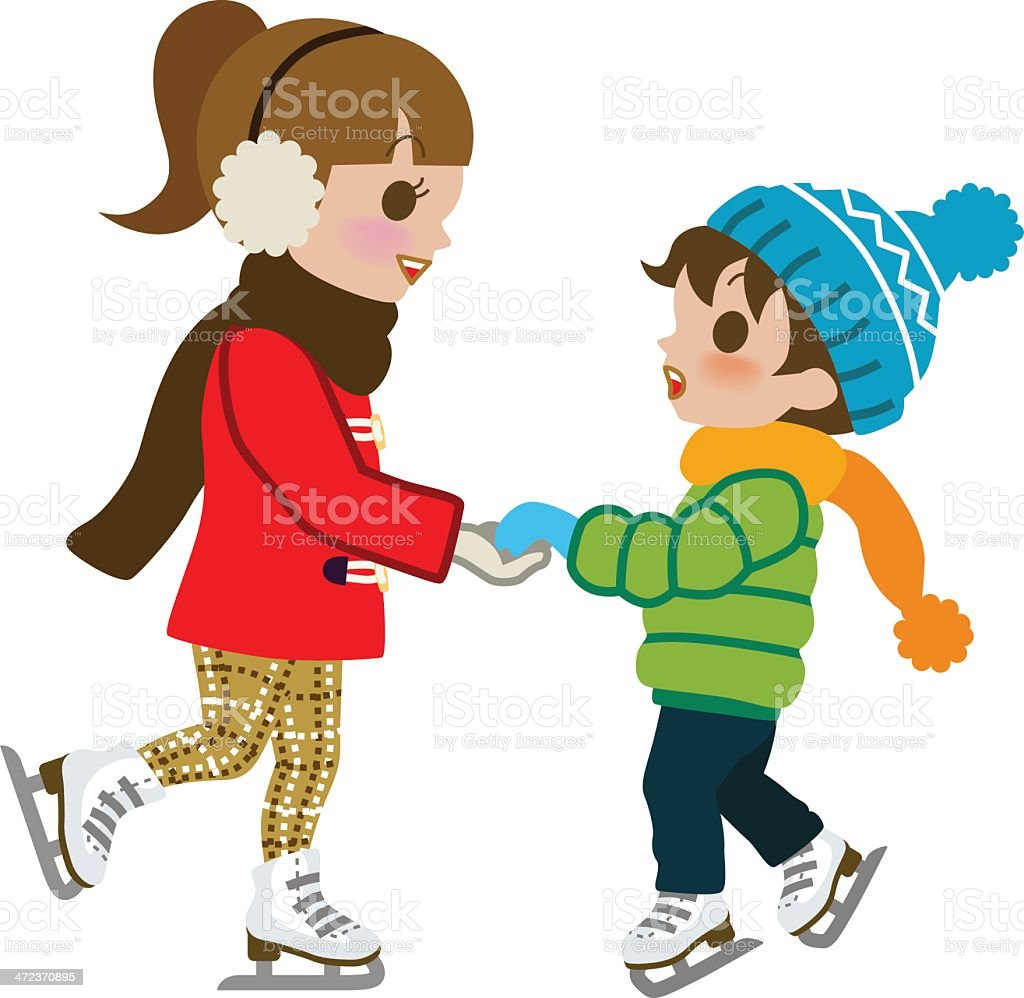 Kids Practicing Ice skate,isolated royalty-free stock vector art