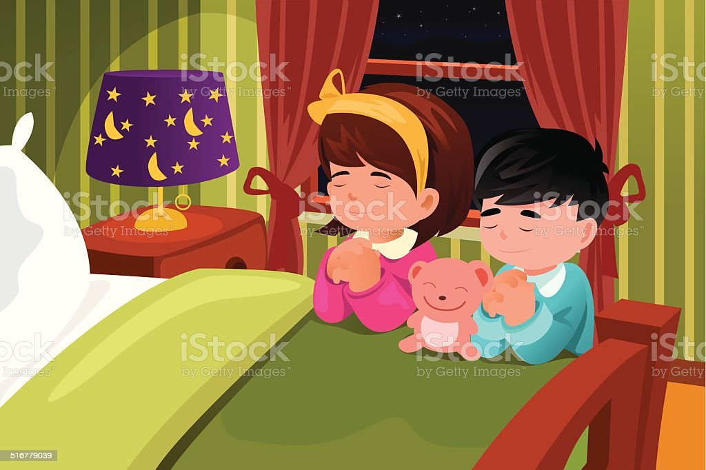 Kids praying before going to bed vector art illustration