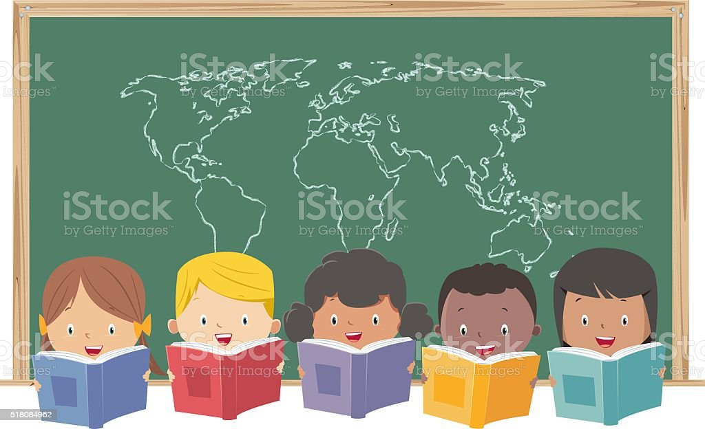 kids reading books vector art illustration