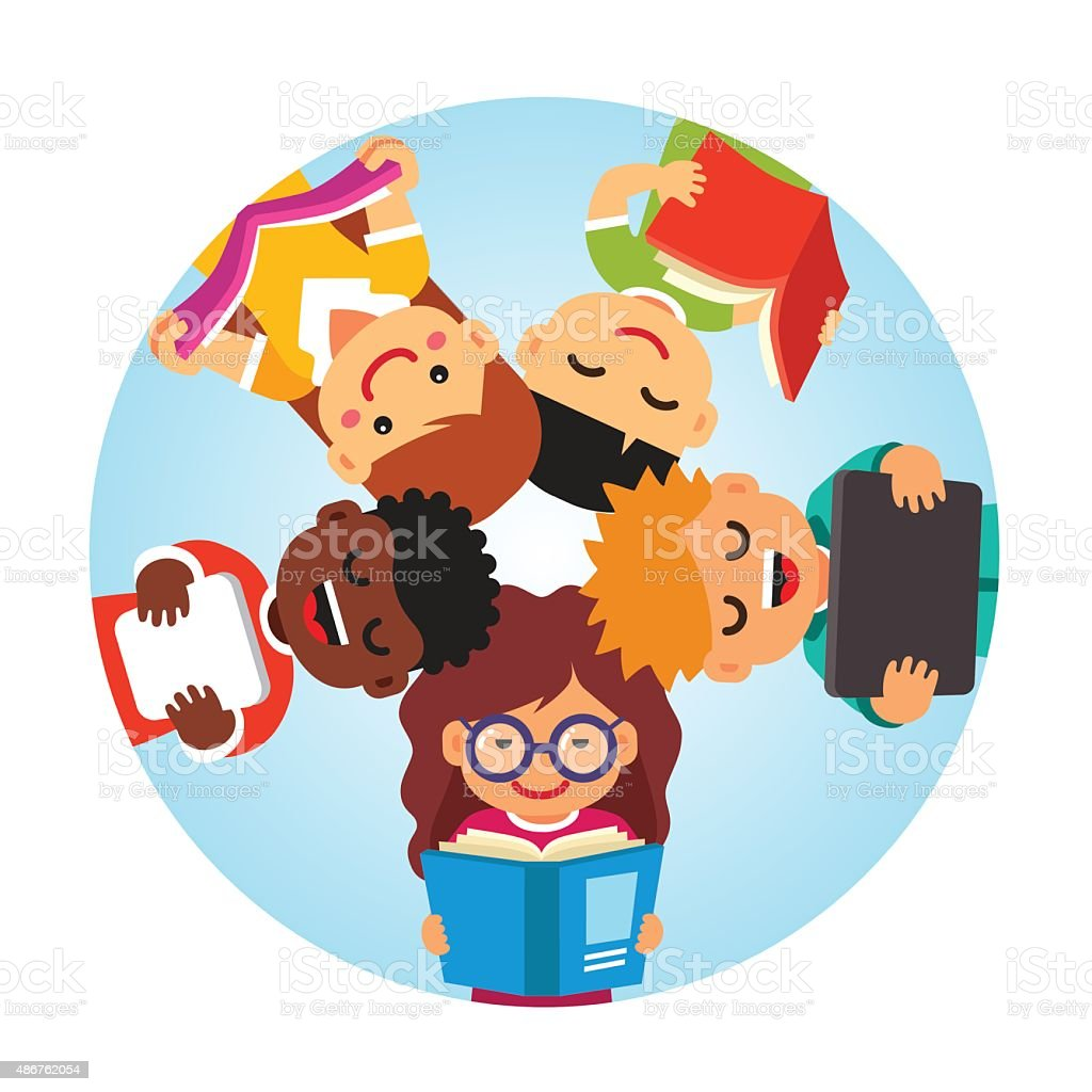 Kids reading laying in circle, heads together vector art illustration