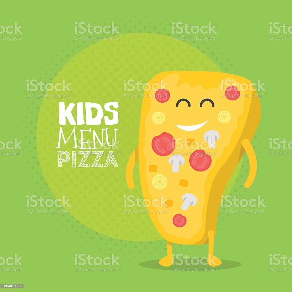 Kids restaurant menu cardboard character. Funny cute drawn pizza, with vector art illustration