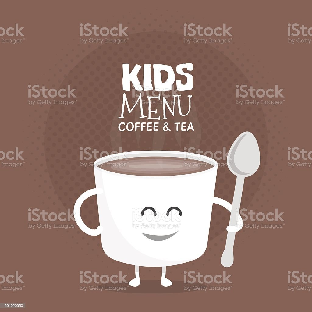 Kids restaurant menu cardboard character. Funny cute mug coffee drawn vector art illustration