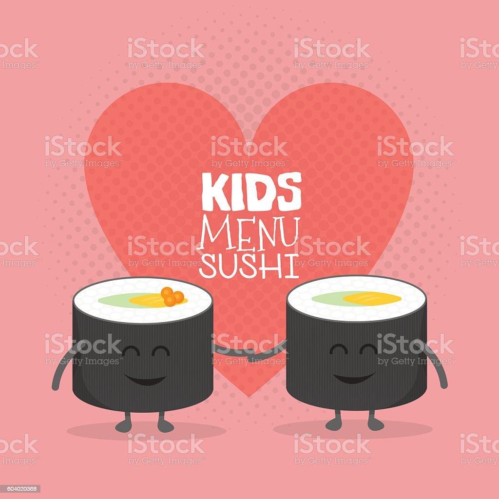 Kids restaurant menu cardboard character. Funny cute sushi roll friends vector art illustration