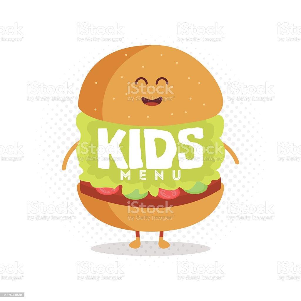 Kids restaurant menu cardboard character. vector art illustration