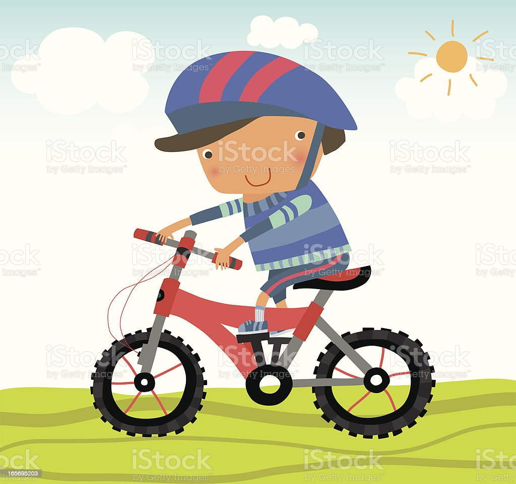 Kids riding a Mountain Bike royalty-free stock vector art