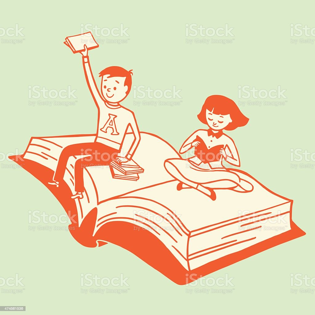 Kids Riding on a Book vector art illustration
