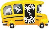 Kids riding on school bus.