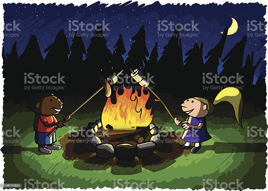 Kids Roastin' Stuff vector art illustration
